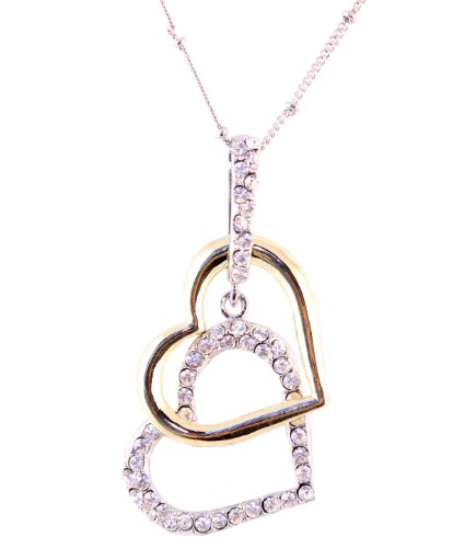 Silver & Gold Tone Crystal Double Heart Charm Pendant Necklace -Thanksgiving Sale