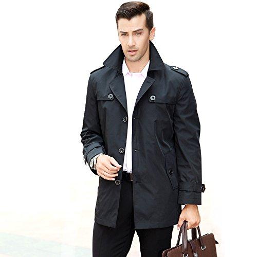 トレンチコート ショート丈 メンズ ビジネスコート アウター ジャケット コート スプリングコート ダスターコート ブラック 170/88 M