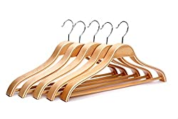 AADYA High Grade Laminated Wooden Suit Hangers/Wooden Men Hangers, Wood Clothes Hangers with Chrome Hooks-(Set of 100PCS)