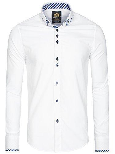 OZONEE Herren Klassisch Hemd Freizeithemd Langarm Shirt Casual Slim Fit RAW LUCCI 776 WEIß M