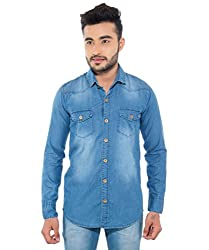 D-Nimes Men's Denim Casual Shirt
