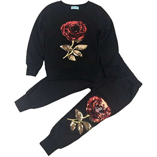 Jastore Baby Girl Cute 2PCS Flower Bow Clothing Set Long Sleeve Top +Plaid Pants (2T, Black Flower)