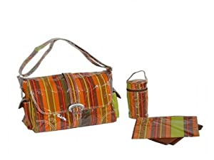 Laminated Buckle Diaper Bag in Harvest Multi Stripes
