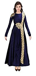 Rozdeal New Blue Floor Touch Embroidered Designer Gown