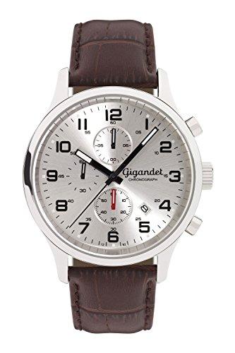 Gigandet Reloj de Hombre Cuarzo Red Touch Cronógrafo Analógico Cuero Plata Marrón G51-003