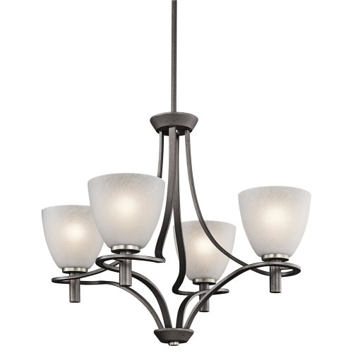 Elegant Compare ue ue Kichler Lighting AVI Neillo Light Chandelier Anvil Iron Finish with Textured Feather Glass