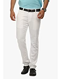 Wear Your Mind White Cotton Cotton Chinos For Men WTR018.1