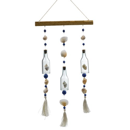 Grasslands Road Glass Bottle With Shells And Tassels Sun Catcher, 16-Inch, Set Of 3