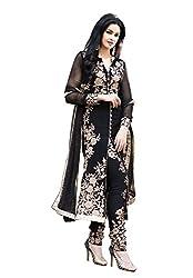 Yeoja Creation Designer Black semi-stitched Dress Materials(AB09_Black_Freesize)