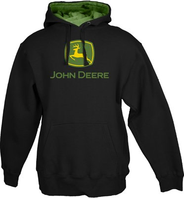 JOHN DEERE CLASSIC LOGO MENS BLACK HOODED SWEATSHIRT (M)