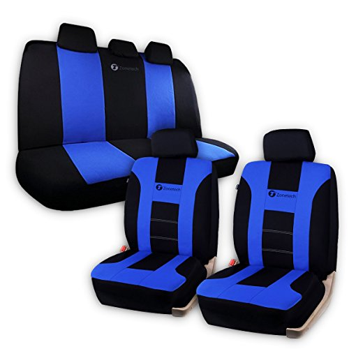 Zone Tech Universal Fit Car Seat Covers - Classic Black and Blue Premium Quality Racing Style Universal Fit Car Seat Cover (Leather Racing Seat Covers compare prices)
