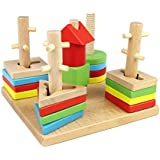 Imported Wooden Geometric Stacking Shape Matching Toys With 5 Pillars For Baby Kids