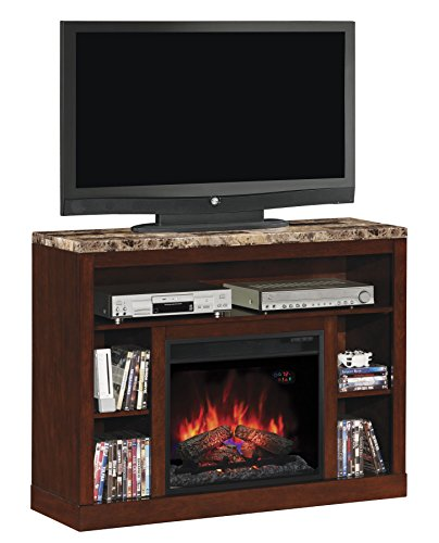 adams tv stand for tvs up to 50 inch with 23 inch electric fireplace ebay. Black Bedroom Furniture Sets. Home Design Ideas