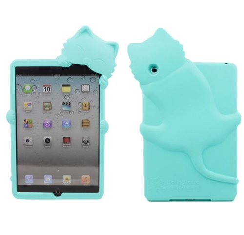 Yuersal Light Blue Cute Animal Shaped Silicone 3D Cat- Gel Silicone Rubber Soft Case Cover Skin For Apple Ipad Mini With Earphone Anti Dust
