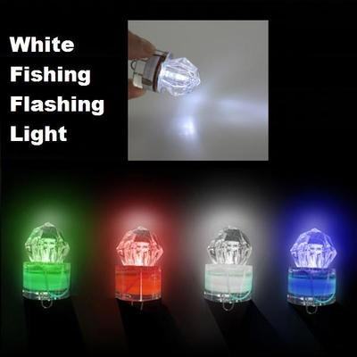 White LED Deep Sea Underwater Diamond Fishing Flashing Light Bait Lure Strobe