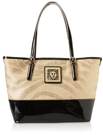 Anne Klein Sunshine Straw Md Tote Shoulder Bag,Nude/Black Synthetic,One Size