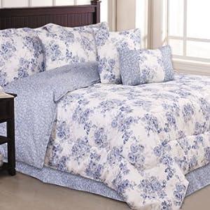 Blue Flowered 7 Piece Reversible Twin Girls Comforter Set Pillows