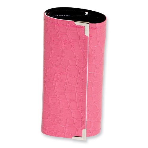 Pink Crocodile Print Jewelry Roll