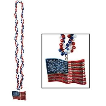 Braided Beads w/American Flag Medallion Party Accessory (1 count) (1/Card)