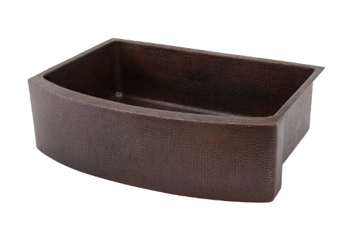 Premier Copper Products KASRDB33249 33-Inch Hammered Copper Kitchen Rounded Apron Single Basin Sink, Oil Rubbed Bronze