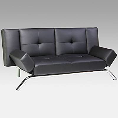DHP Emma Black Faux Leather Convertible Sofa