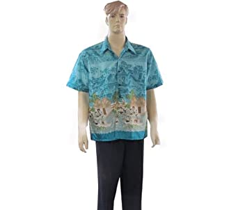 Men's Short Sleeve Thai Silk Hawaiian Shirt - XXL SIZE = ARMPIT TO ARMPIT 24 INCHES LONG 30 INCHES ON SELL WITH COMPLIMENTARY