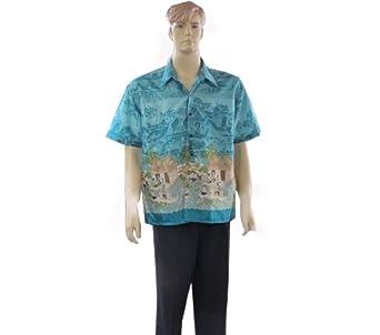 BEST SELLER Men's Short Sleeve Thai Silk Hawaiian Shirt - XL SIZE = ARMPIT TO ARMPIT 22 INCHES LONG 29 INCHES
