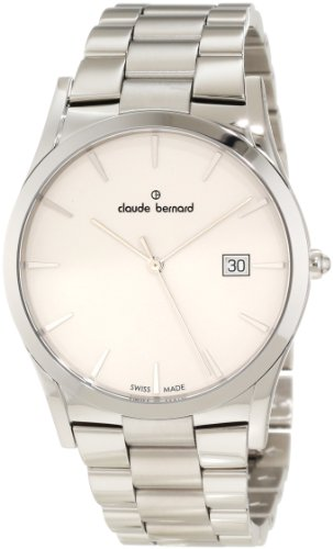 Claude Bernard Men's 70163 3 AIN Classic Gents White Dial Stainless Steel Date Watch