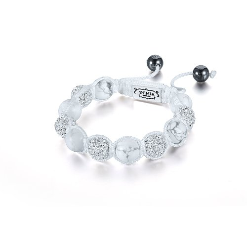 Shimla SH 046S Silver Plated White Clear Czech Crystal with White Turquise Beads Bracelet of Diameter 10.5cm