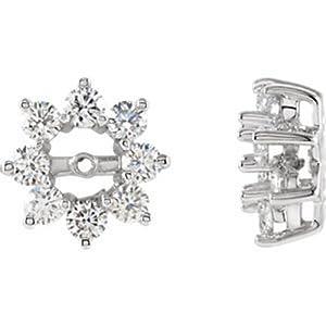 IceCarats Designer Jewelry 14K White Gold 1 1/5 Ctw Diamond Earring Jacket. Pair 1 1/5 Cttw