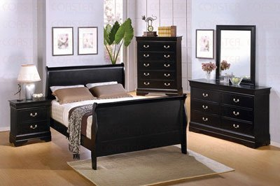 King Size Sleigh Bed Louis Philippe Style in Black Finish