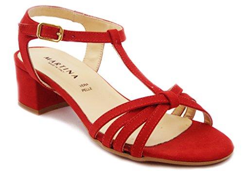 Sandalo Martina in ecocamoscio, con tacco 4cm., SUOLA IN gomma ANTISCIVOLO, Estivo-68556R