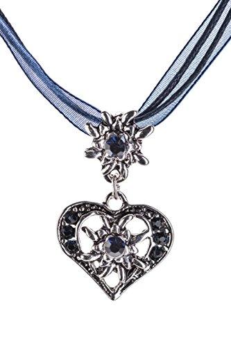Trachtenkette-elegantes-Herz-mit-Strass-und-Edelweiss-Anhnger-Trachtenschmuck-Kette-fr-Dirndl-und-Lederhose-Damen-in-vielen-Farben-Blau