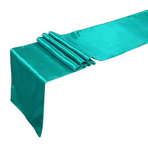 Ling's moment Teal Blue Satin Table Runner for Weddings, 12x108 Inch, 1 piece (Teal Table Runner compare prices)