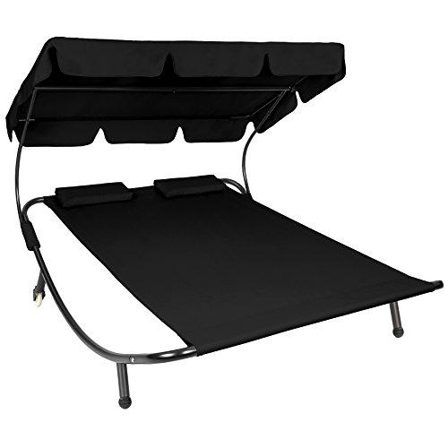 tectake sonnenliege gartenliege doppelliege mit sonnendach 2 kissen fr. Black Bedroom Furniture Sets. Home Design Ideas