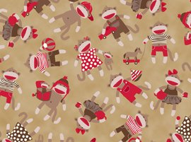 "43"" Wide Sock Monkey Toss Beige Cotton Fabric BY THE HALF YARD"