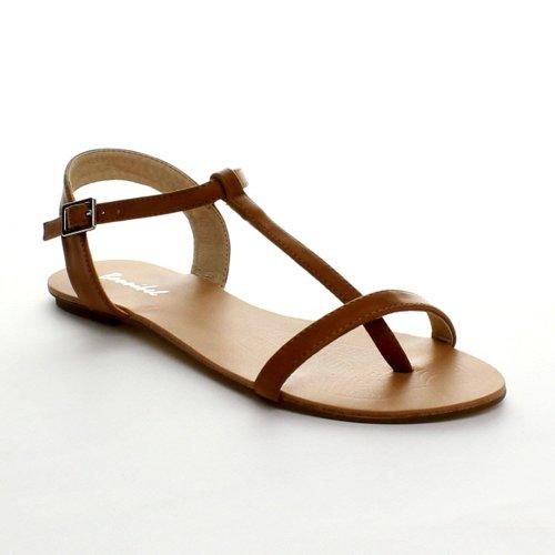 Bonnibel Maya-1 Women'S Flat T-Strap Buckle Ankle Strap Thong Sandals, Color:Tan, Size:6 front-410989
