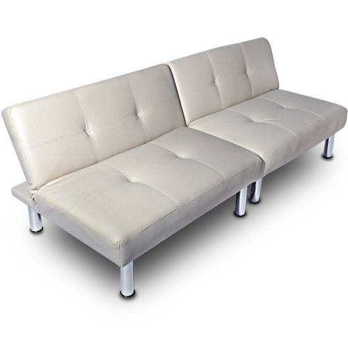 Miadomodo sofa sfbd01 blanc cr me en simili cuir for Sofa lit cuir