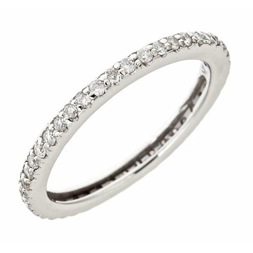 14K White Gold in Pave Diamond Wedding Eternity Anniversary Band Ring 0.50ct (SI Clarity, F Color)