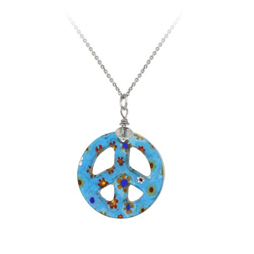 Sterling Silver Rolo Chain with Hand -Blown Blue Glass Peace-Sign Pendant Necklace , 18