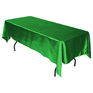 LinenTablecloth 60 x 102-Inch Rectangular Satin Tablecloth Valley Green from LinenTablecloth