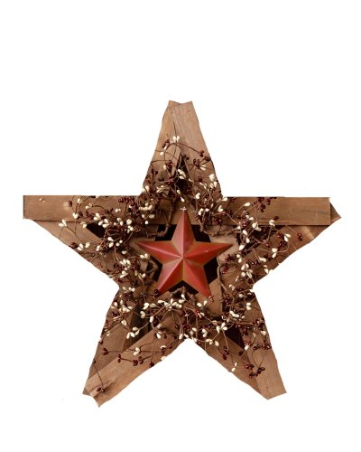 Your Heart's Delight Wood and Metal Star with Burgundy and Cream Berry Wreath, 19 by 17-1/2-Inch
