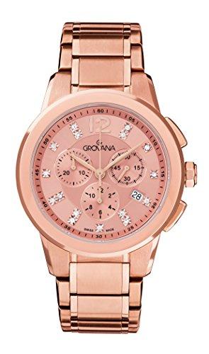 Grovana Unisex reloj infantil de cuarzo con esfera cronográfica y bañado en oro rosa pulsera acero inoxidable 2094,9266