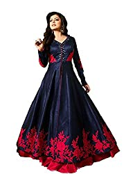 Fashion 2 Wear Special Stylish Fashion Glorious Blue Neck And Border Embroidered Banglori Silk Sarara Style Long Party Wear Suit Gown