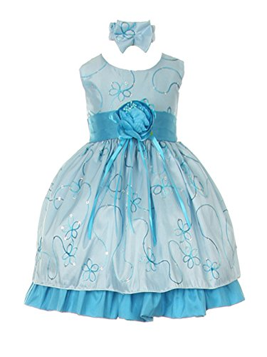 Wonderfuldress Taffeta Sequin Embroidered Infant Dress-Turquoise-S(12Month)