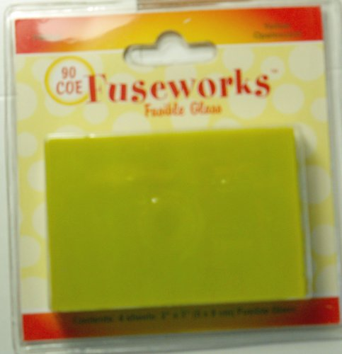 Fuseworks 90 COE Fusible Glass 4 Sheets 2x3 Inches Yellow Opalescent to Use with Fuseworks Microwave Kiln Fusing Kit Mix with Dichroic Glass