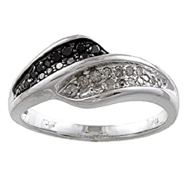 White Gold 1/2ct TDW Black and White Pave Diamond Bypass Ring (G-H, I1-I2)