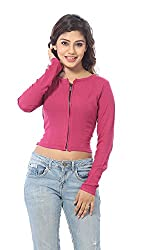Abony Women's Pink Fullsleeve Crop Top (Size:XXL)