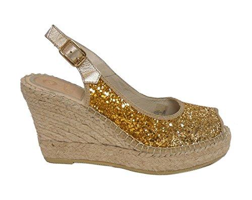 Vidorreta sandalo glitter zeppa corda 12400 oro nr.38