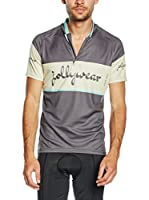 JOLLYWEAR Maillot Ciclismo Vintage (Gris / Turquesa)